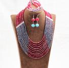 红蓝色10层玉料水晶项链手链耳环套链