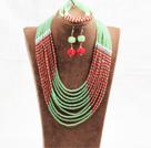 红绿色10层玉料水晶项链手链耳环套链