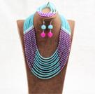 蓝色玫红色10层玉料水晶项链手链耳环套链
