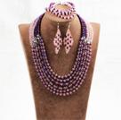 紫粉色六层水晶项链手链耳环套链