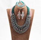 绿粉色六层水晶项链手链耳环套链