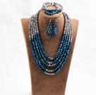 蓝灰色五层水晶项链手链耳环套链