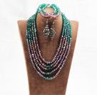 绿色紫色五层水晶项链手链耳环套链