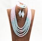 粉蓝色五层水晶项链手链耳环套链
