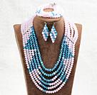 蓝色粉色六层水晶项链手链耳环套链