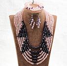 粉色紫色六层水晶项链手链耳环套链