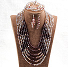 紫色浅棕六层水晶项链手链耳环套链