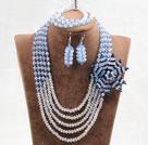 蓝色白色水晶花朵项链手链耳环套链(花朵可拆卸)
