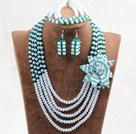 绿色蛋白色水晶花朵项链手链耳环套链(花朵可拆卸)