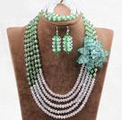 绿色白色水晶花朵项链手链耳环套链(花朵可拆卸)