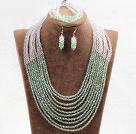 绿色白色10层水晶项链手链耳环套链