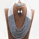 黑色蛋白色10层水晶项链手链耳环套链