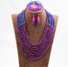 玫红色蓝色10层水晶项链手链耳环套链