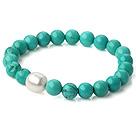 新疆绿松石手链 配天然白色珍珠 单圈圆珠弹力线款