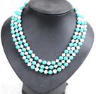 白珍珠松石三层项链  配贝壳花扣