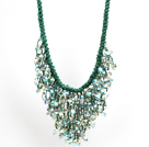 绿色系水晶水滴礼服项链