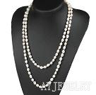 天然米形白珍珠项链毛衣链