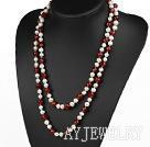 白珍珠红玛瑙项链毛衣链