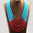 多层蓝红双色塑料珠米珠项链