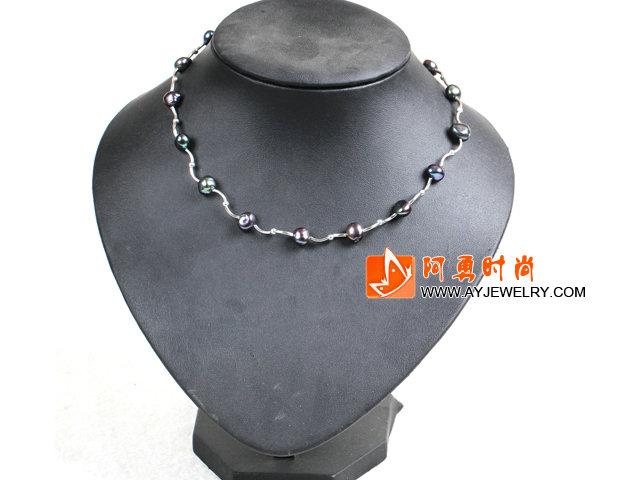 黑色土豆形珍珠项链