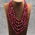 红色五层再生珍珠水晶项链