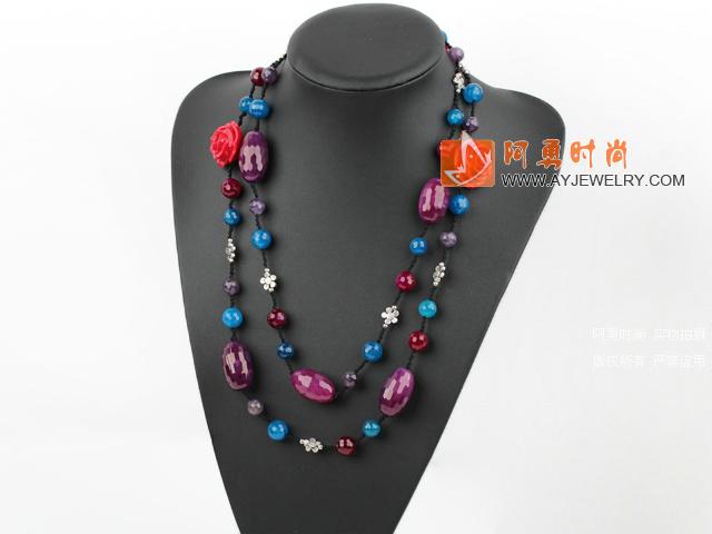 切面玛瑙紫晶项链