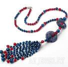 蓝玛瑙玫红玛瑙蓝纹石平安扣项链