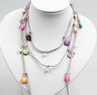白珍珠彩色贝壳长款项链 (可做腰链)