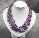 多层紫水晶碎石项链