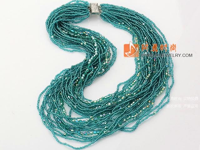 湖蓝色水晶珠项链 多层款