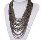 灰色水晶珠项链 多层款