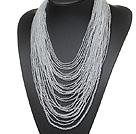 白色水晶珠项链 多层款