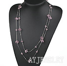 粉色水晶项链毛衣链