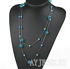 蓝色水晶项链毛衣链