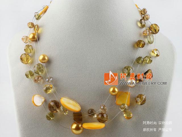 黄色水晶贝壳项链
