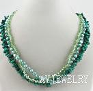 绿珊瑚珍珠水晶项链