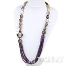 紫色水晶灰玛瑙项链毛衣链