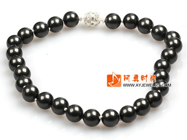 14mm黑色海贝珠圆珠项链 配磁力扣