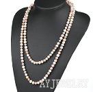天然三色珍珠项链毛衣链