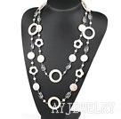 白色贝壳水晶珍珠项链毛衣链 130cm合金链长款