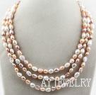 三排三色巴洛克珍珠项链