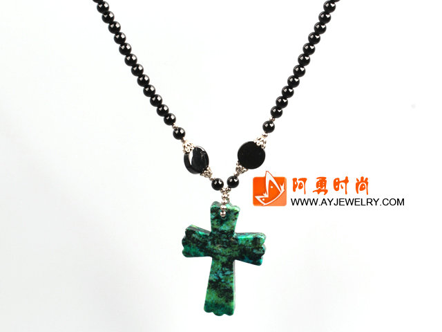 黑玛瑙凤凰石十字架吊坠项链