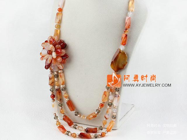 珍珠原色玛瑙项链
