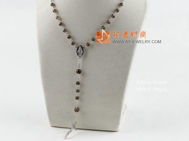 茶晶念珠项链