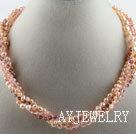 粉色珍珠水晶项链