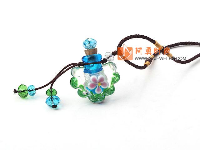 花形琉璃香水瓶项链(颜色随机)吊坠款