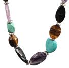 紫晶松石虎眼石项链