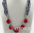 珍珠珊瑚松石项链