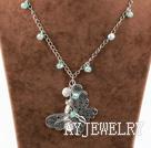 纽扣珍珠水晶蝴蝶吊坠项链
