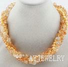 黄水晶珍珠项链 多股扭扭款